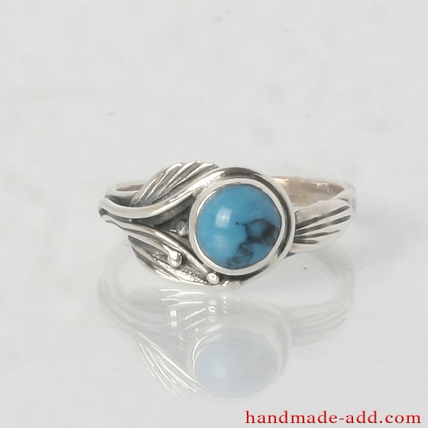 Sterling Silver Ring with Round Turquoise