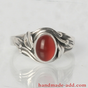 Silver Ring with Carnelian and Floral Shape