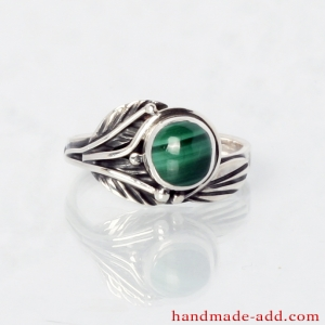 Sterling Silver Ring with Round Malachite.