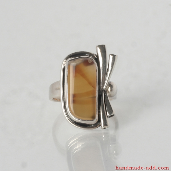 Unique Sterling Silver Ring with Sardonyx