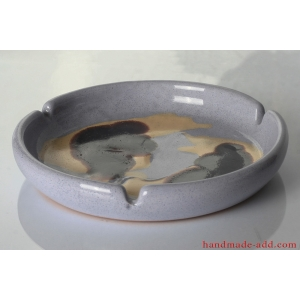 Vintage Ashtray. Ceramic Ashtray. Rare Large Ceramic Ashtray. Warm gray color.