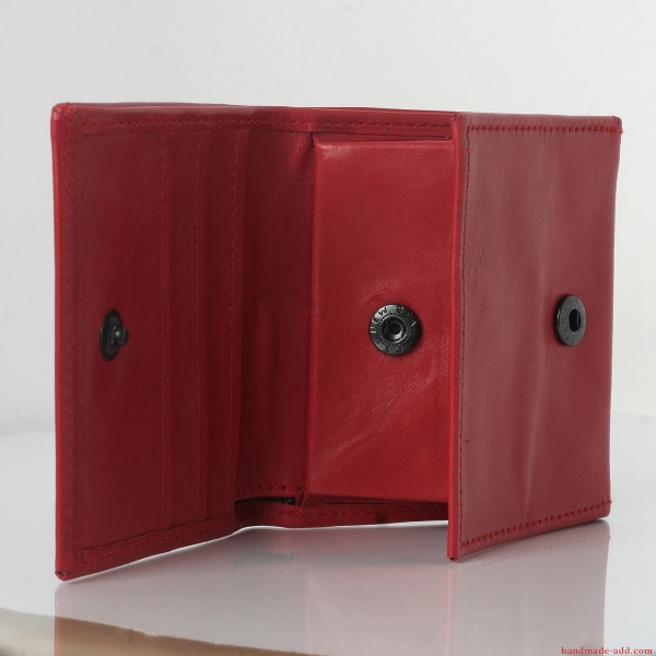 Women Red Leather Wallet - top grain leather wallet- Small COIN POCKET BIFOLD RED wallet