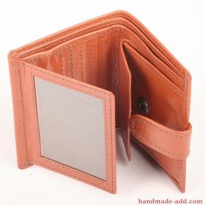 Women Wallet - top grain leather - COMPACT COIN POCKET BIFOLD ORANGE