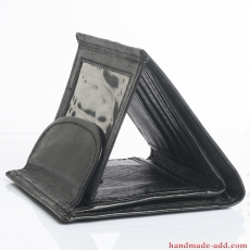 Women Unisex wallet - top grain leather - BIFOLD WALLET BLACK