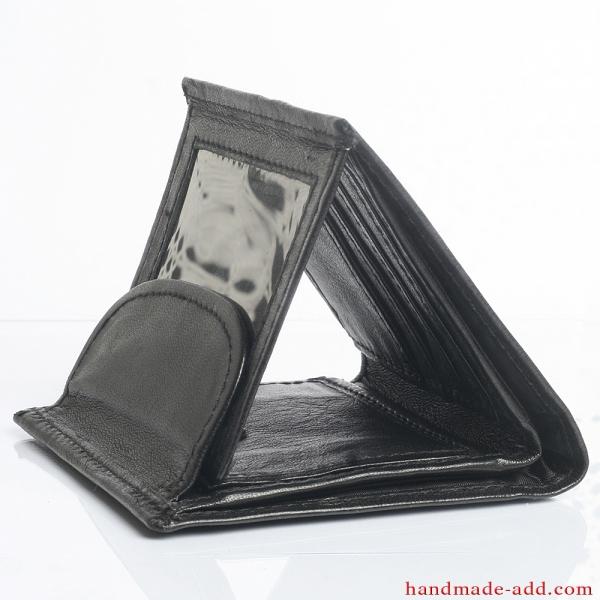 Women Unisex wallet - top grain leather - BIFOLD WALLET BLACK