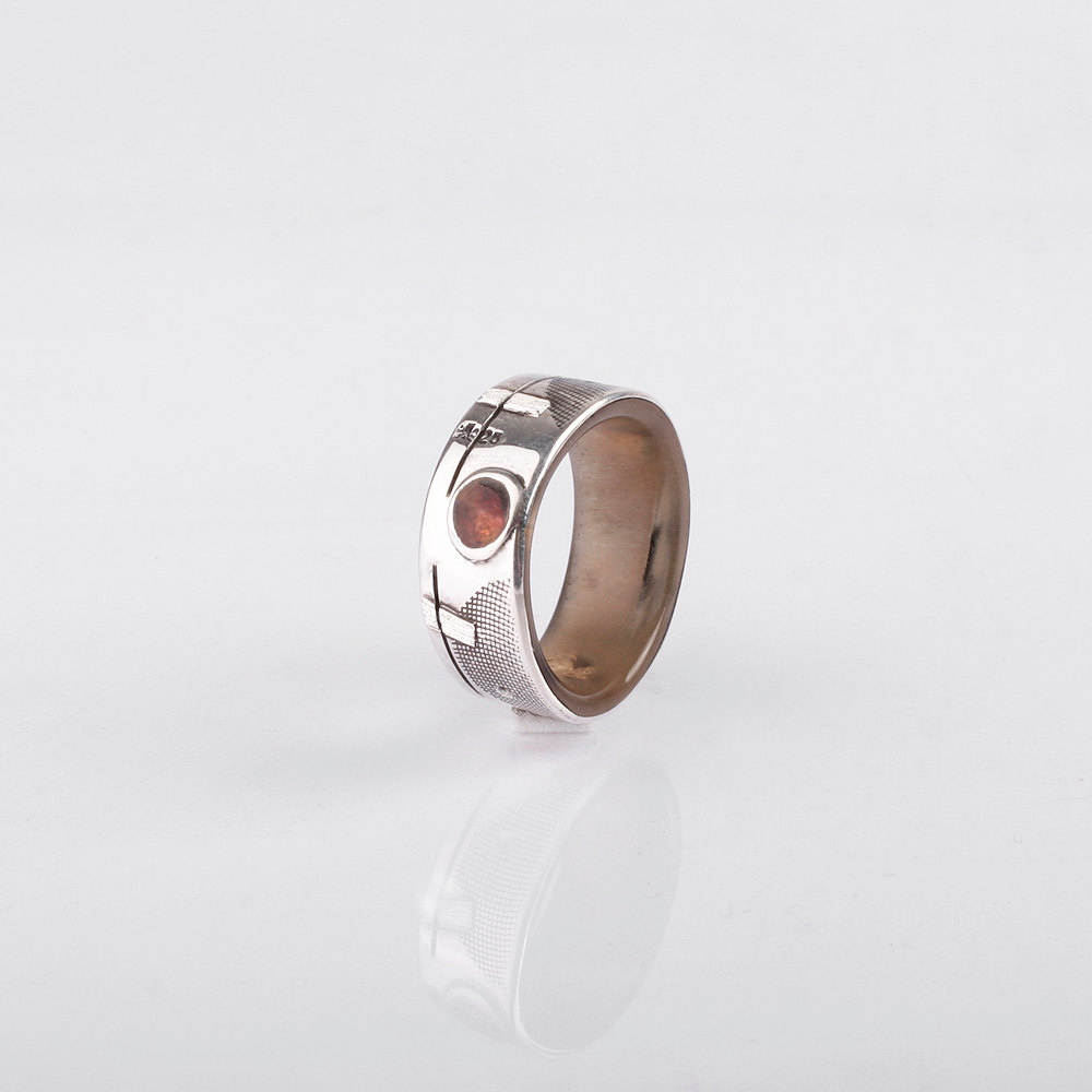 Wedding Ring Silver Amber And Gold Inlay Men Band Rings
