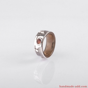 Wedding ring - silver, amber and gold inlay. Men Wedding Band. Wedding Rings. Unisex Ring. Unusual wedding ring